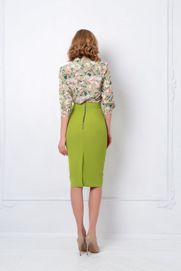 Pencil skirt, 42, Pistachio, Crepe, Midi, Оff-season, In stock
