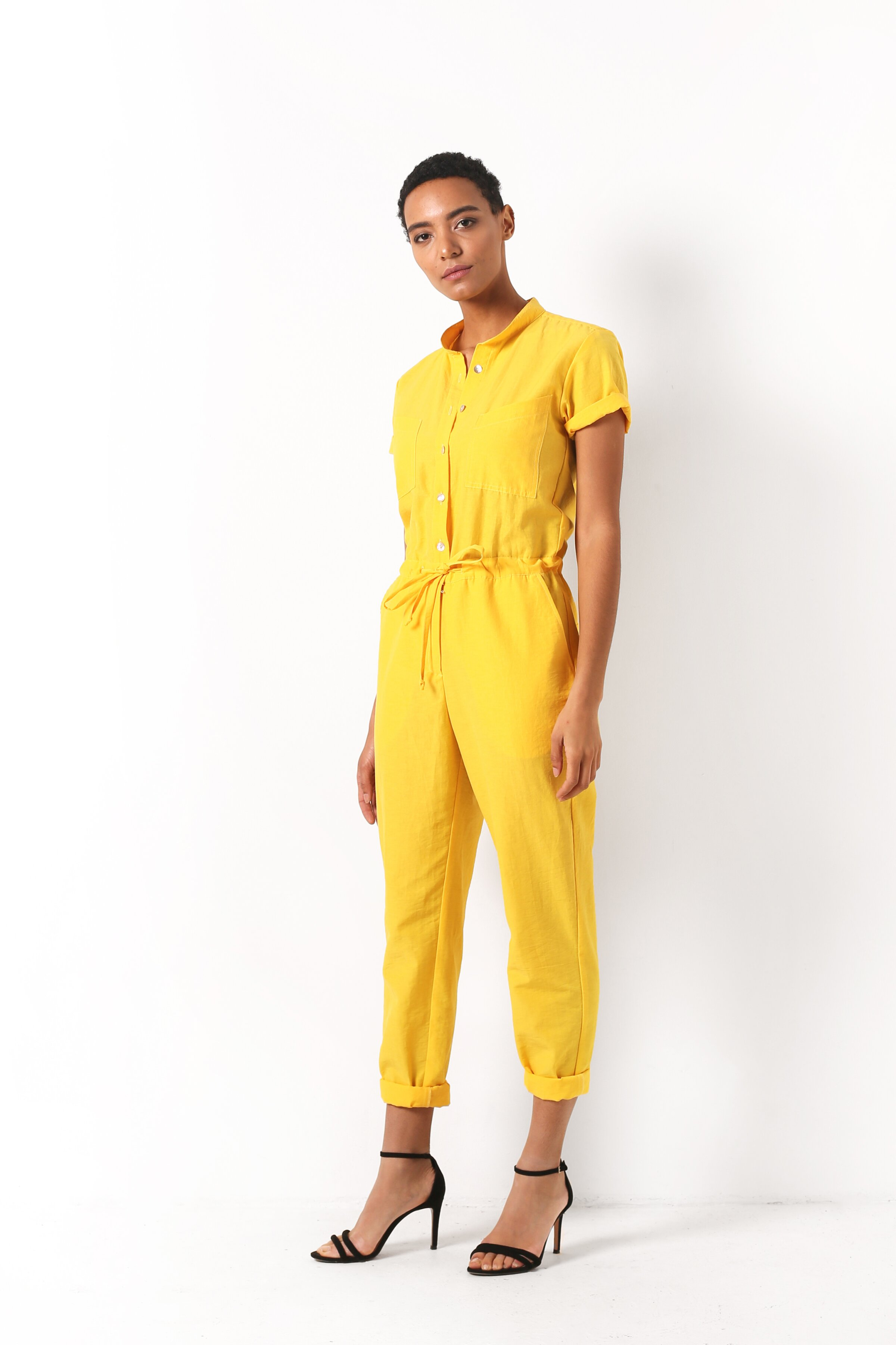 Summer jumpsuit, Yellow, Cotton, Spring Summer, In stock