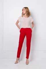 Trousers, Red, Costume fabric, Оff-season, In stock