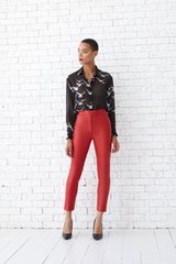 Lether pants, Red, Textile leather, Аutumn winter, In stock