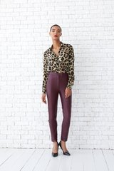 Leather pants, Marsala, Textile leather, Аutumn winter, In stock