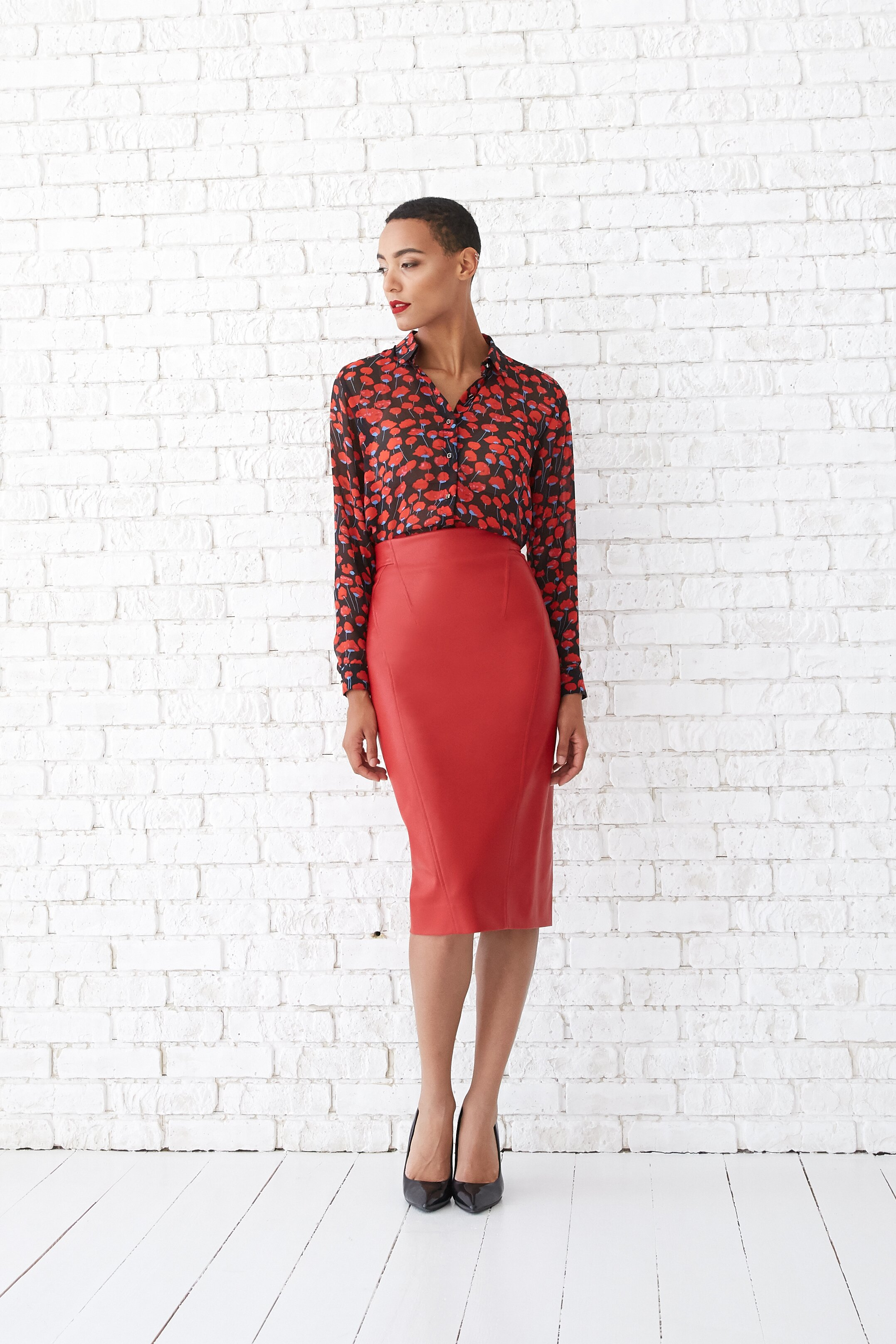 Leather skirt, Red, Textile leather, Midi, Аutumn winter, In stock